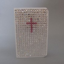 Swarovski Crystal White Bible with Pink Cross