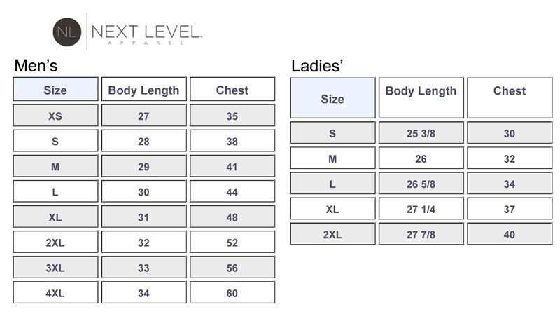 Next Level Size Chart 2019